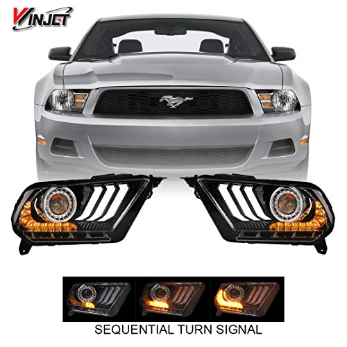 (Winjet CHRNG-0612-B-SQ 2018 S550 Style Aftermarket Performance LED Glow Bar DRL Projector Headlights With Sequential Signal Clear Lens for 2010-2012 S197 Ford Mustang)