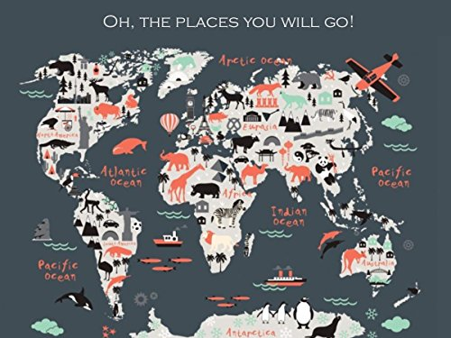 Childrens Travel Map of the World, Adventure Awaits, Multi-color Map,