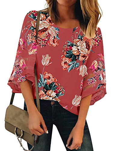 LookbookStore Women's Crewneck Mesh Panel Blouse 3/4 Bell Sleeve Loose Top Shirt Floral Printed Tea Rose Size -