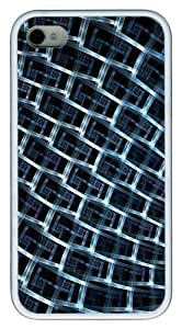 iPhone 4s Case and Cover - Fractal Light Design TPU Polycarbonate Hard Case Back Cover for iPhone 4S and iPhone 4 - White