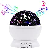 Musical Night Light,360 Rotating Star Lamp Baby Musical Lamp with Rechargeable Battery,12 Songs to Relax for Sleep Kids Babies Birthday Children Day Gift (White)