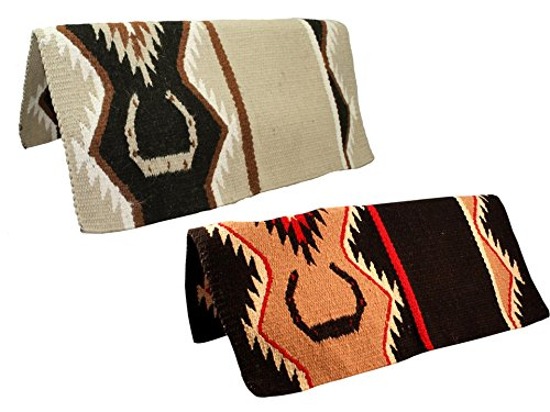(Tahoe Tack Hand Woven New Zealand Wool Western Horse Saddle Blanket - Multiple Colors - 34x36)