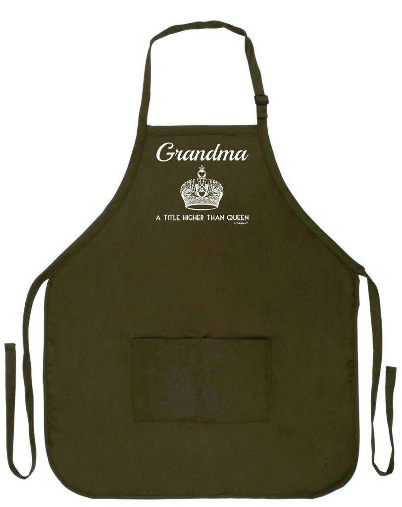 母の日ギフトおばあちゃんのタイトルよりも高いQueen FunnyエプロンforキッチンBBQバーベキュー料理Baking Craftingガーデニング2つのポケットエプロンまたはおばあちゃんMom  Military Olive Green B00XND1G9A