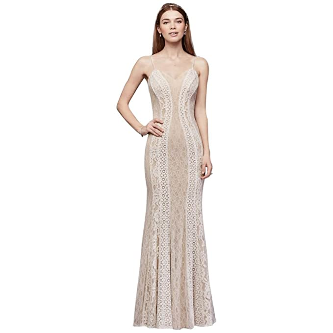 5fa7166324 David's Bridal Mixed Lace Sheath Gown with Spaghetti Straps Style 184159DB,  Ivory, ...