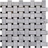 Carrara White Marble Mosaic Tile, CWMM1WEA+B-H, Chip Size 1''X2'' Basketweave with Black Dot, 12''X12''X5/16, Honed (Box of 5 Sheets)