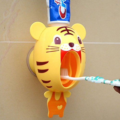 Money coming shop For Kids Cute Cartoon animals Design Set Cartoon bathroom household Toothbrush Holder Automatic Toothpaste Dispenser