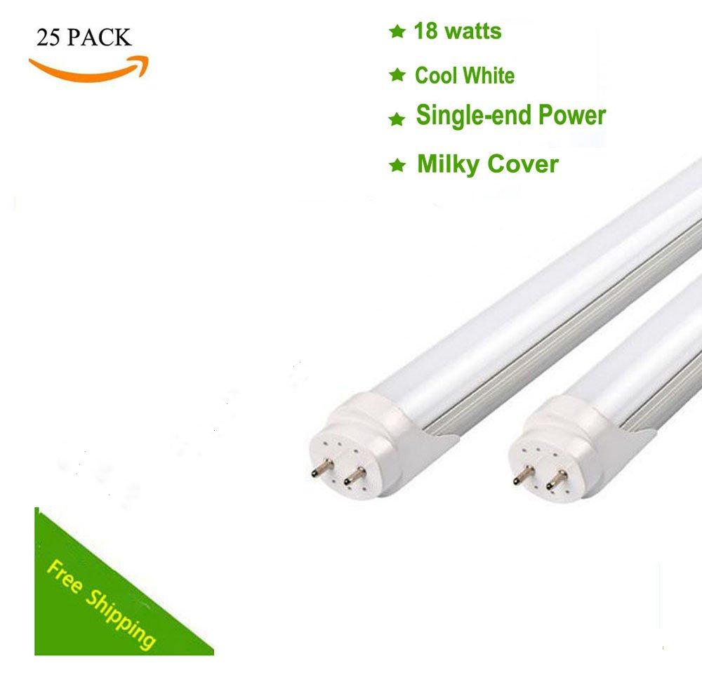 25pcs 18W G13 4ft 6500K Single-End Power Bright Cool White 110V-240V T8 LED Tube Bulb Light Lamp Works without ballast and starter (Milky)