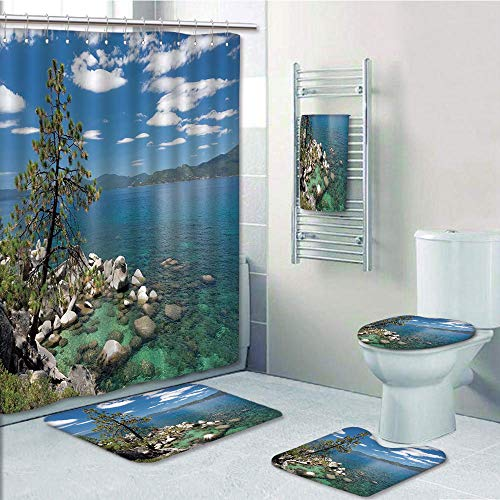 Bathroom Fashion 5 Piece Set shower curtain 3d print,Nature,Lake Tahoe by the Lake with A Tree and Rocks Cloudy Bright Sky Landscape,Light Blue Olive Green,Bath Mat,Bathroom Carpet Rug,Non-Slip,Bath T