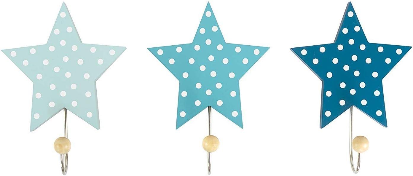 Grau JaBaDaBaDo Wandhaken Sterne 3er Set blau grau oder rosa Kinder Garderobe Kleiderhaken Junge M/ädchen