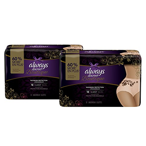 Always Discreet Boutique Incontinence Maximum Protection Underwear for Women, Large, 36 (Maximum Incontinence Protection)