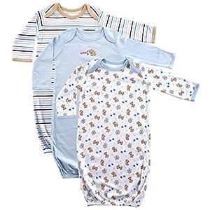 Luvable Friends Unisex Baby Cotton Gowns, Blue Puppy 3-Pack, 0-6 Months