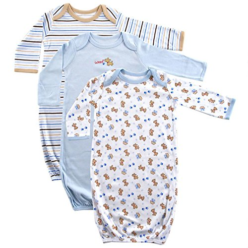 Luvable Friends Baby Cotton Gowns, Blue Puppy 3Pk, 0-6 Months (Puppy Infant)