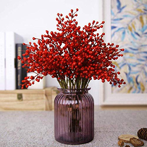 Efivs Arts Artificial Red Berry,8 Pack Holly Christmas Berries Stems for Christmas Tree Decorations, Crafts, Holiday and Home Decor ()