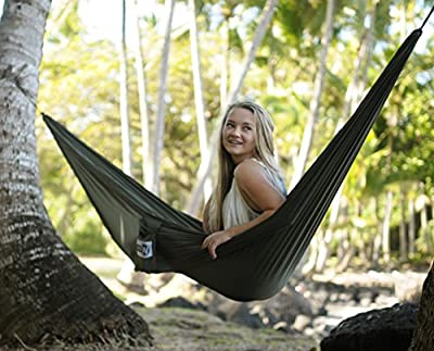 Hammock for Camping, Backpacking, or Hangout; Big W's Wildwood Hammocks Are Ultralight, Strong, & Portable; Durable Parachute Nylon; Triple Stitching; Carabiners for Easy Hanging
