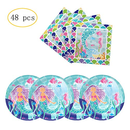 Little Mermaid Luncheon Napkins - Party Nice Mermaid Party Supply Pack - Mermaid Party Plates, Mermaid Luncheon Napkins