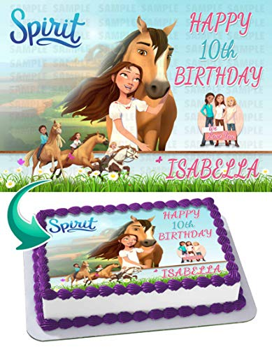 Spirit Riding Free Edible Cake Image Topper Personalized Birthday 1/4 Sheet Custom Sheet Party Birthday Sugar Frosting Transfer Fondant Image ~ Best Quality Edible Image for cake
