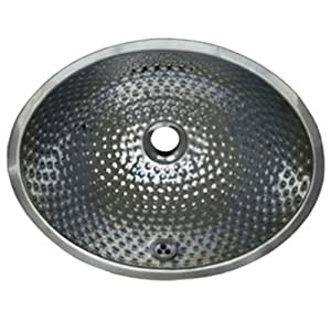 Whitehaus WH608ABM-POSS Oval Ball Pein 16-Inch Hammered Textured Undermount Lavatory Basin with Overflow
