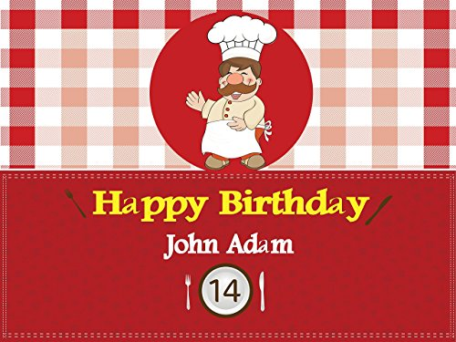 Pizza Time Invites (Custom Home Décor Cooking Birthday Poster - Size 24x36, 48x24, 48x36; Personalized Baking, chef Red Gingham, Chef Pizza Party, Birthday Banner Wall Décor, Handmade Party Supply Poster Print)