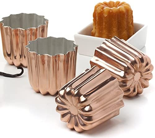 Pack of 4 Copper Tinned Interior Molds Cannele From Bordeaux French Custard Coffee Cake Traditional Pastry – 2.3 Inches