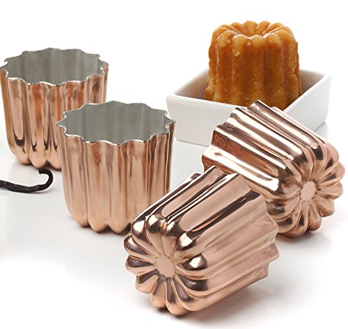 Antique Kitchenware (Pack of 4 Copper Tinned Interior Molds Cannele From Bordeaux French Custard Coffee Cake Traditional Pastry - 2.3 Inches)