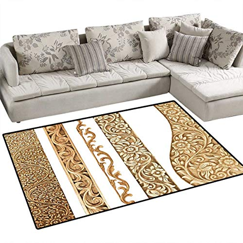 Earth Tones Door Mats for Inside Artistic Carpentry Themed Vertical Borders with Flower Motifs on White Bath Mat for Bathroom Mat 4'x6' Sand Brown White