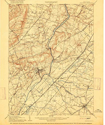 (YellowMaps Princeton NJ topo map, 1:62500 Scale, 15 X 15 Minute, Historical, 1906, Updated 1916, 19.7 x 16.6 in - Paper)
