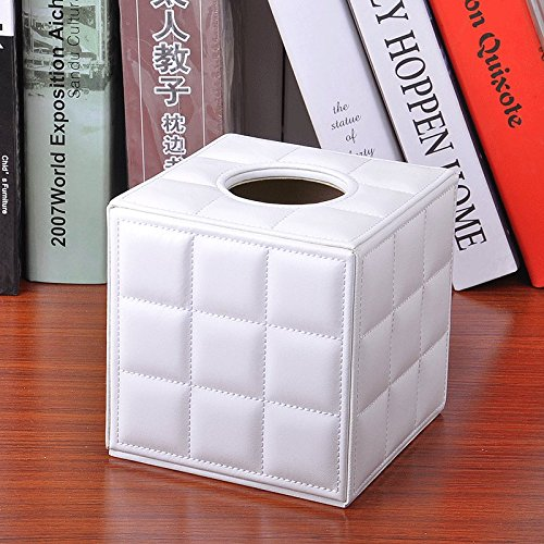 PLLP European leather tissue box, tissue tube, roll paper tube, creative volume paper box, household square box,White,One size by PLLP