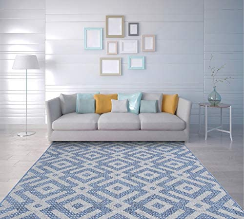 PRIYATE Florida Collection – Moroccan Lattice Indoor Outdoor Area Rug Non-Slip, Color Fast, Floor Carpet for Living Room, Dining Room, Office Space, Foyer, Patio and More Blue 7 10 X 10