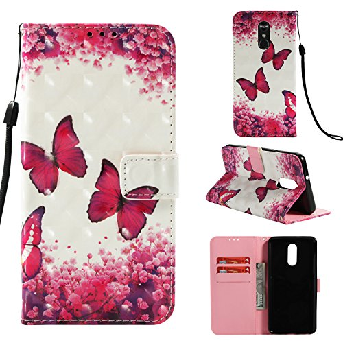 Shinyzone Wallet Flip Cover for LG Stylo 4/LG Q Stylus,Magenta Butterfly 3D Colorful Painting 2 in 1 Book Style Leather Case with Card Holder and Magnetic Buckle Stand Cover by Shinyzone