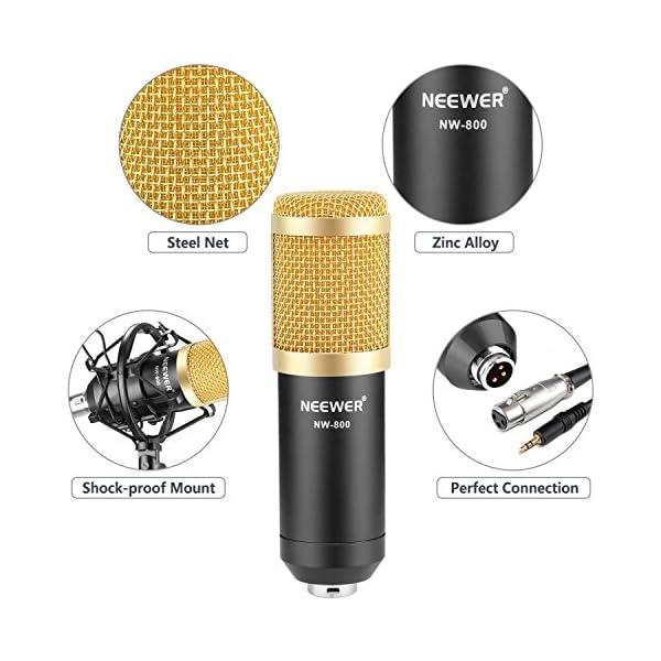 Neewer NW-800 Studio - Set microfono a condensatore professionale NW-800, con assorbimento degli urti, a sfera anti-vento, in schiuma, cavo di alimentazione per microfono 4 spesavip
