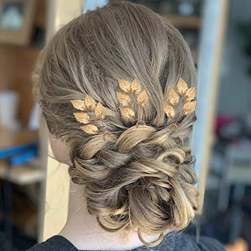 Bride Hair Accessories Messen Leaf Hair Bobby Pins Vintage Gold Clip for Wedding Bridesmaid Jewelry Handmade (Pack of 3, Gold)