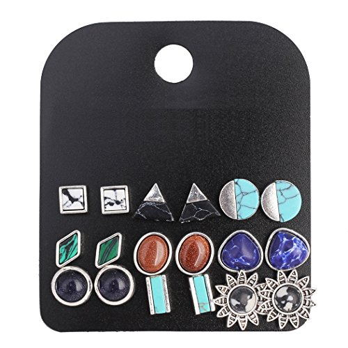 (9 Pairs Multiple Stone Stud Earrings Sets for Women Popular Triangle/Round/Square/Bar Earring Studs)