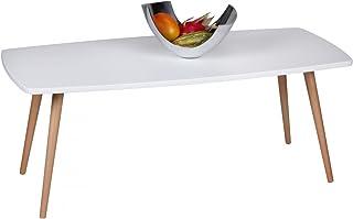 Home Collection24 Retro Tavolino scanio 110x 50x 42cm MDF Bianco Opaco Piedi in Legno di faggio