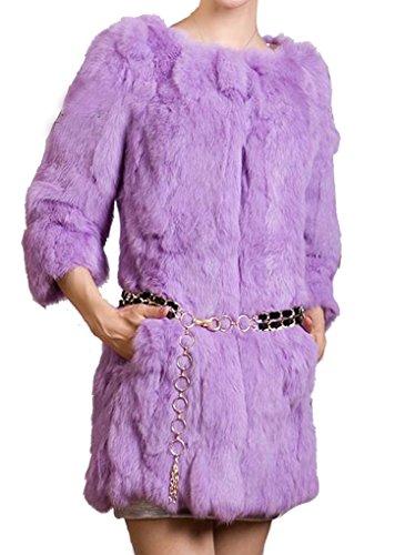 Violet Reel Helan Femmes Fourrure Lapin Rex De Clair Manteau Long AT87Tq