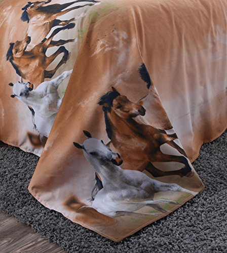 Alicemall Queen Size 3d Horse Bedding Set 4 Piece
