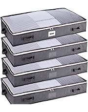 SGHUO 75L Underbed Storage Bag, Large Foldable Under Bed Storage Containers with Clear Windows and Enhanced Reinforced Handles for Seasonal Clothing, Blankets, Comforters, Beddings, 4Pack, Grey