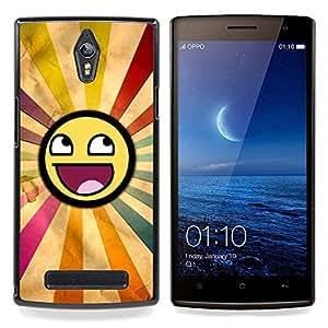 """Qstar Arte & diseño plástico duro Fundas Cover Cubre Hard Case Cover para OPPO Find 7 X9077 X9007 (Smiley del arco iris Sun Simbólico Arte Lgbt"""")"""