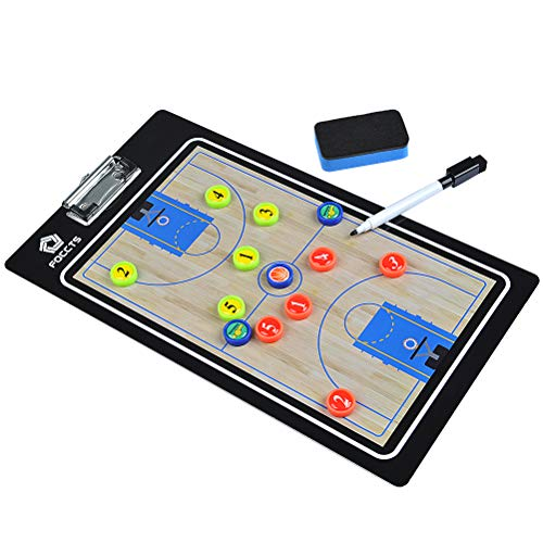 FOCCTS Magnetic Basketball Tactic Board Premium Dry-Erase Double Sided Basketball Coaching Clipboard with 13 Magnets, Dry Erase Marker, ()