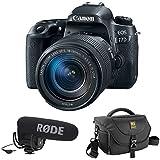 Canon EOS 77D DSLR Camera with 18-135mm USM Lens plus Rode VideoMic Pro, Rycote Lyre Shockmount and Journey 34 DSLR Shoulder Bag (Black)