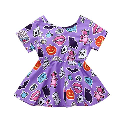 Hunzed Halloween Kids Costume Outfits, Toddler Infant Baby Girls Cartoon Print Dress (3T, Purple) -