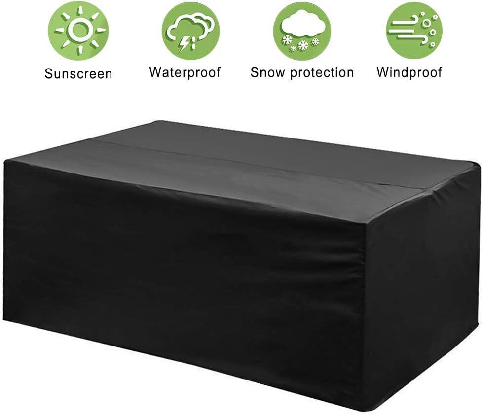phixilin Funda para Mesa Jardin, Cubierta de Muebles de Jardín Impermeable 210T Poliéster Resistente al Polvo Anti-UV Funda Protectora para Muebles de jardín - Negro (200 * 160 * 70)