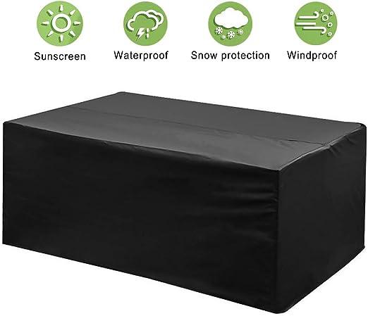 phixilin Funda para Mesa Jardin, Cubierta de Muebles de Jardín Impermeable 210T Poliéster Resistente al Polvo Anti-UV Funda Protectora para Muebles de jardín - Negro (242 * 162 * 100): Amazon.es: Jardín