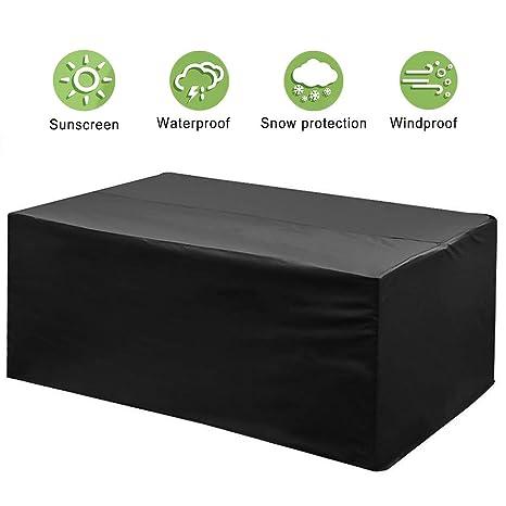phixilin Funda para Mesa Jardin, Cubierta de Muebles de Jardín Impermeable 210T Poliéster Resistente al Polvo Anti-UV Funda Protectora para Muebles de ...