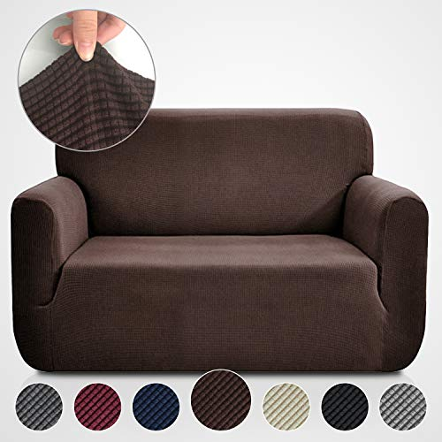 Chocolate Loveseat Slipcover - Rose Home Fashion RHF Jacquard-Stretch Loveseat Slipcover Slipcovers for Couches and Loveseats, Loveseat Cover&Couch Cover for Dogs, 1-Piece Sofa Protector(Loveseat: Chocolate)