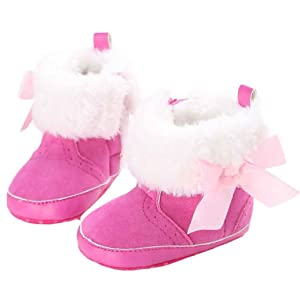 Amiley Baby Girl Fleece Warm Soft Sole Snow Boots Soft Crib Shoes Toddler Bootie (Size 12 (US:3---6~12 Month), Hot Pink)