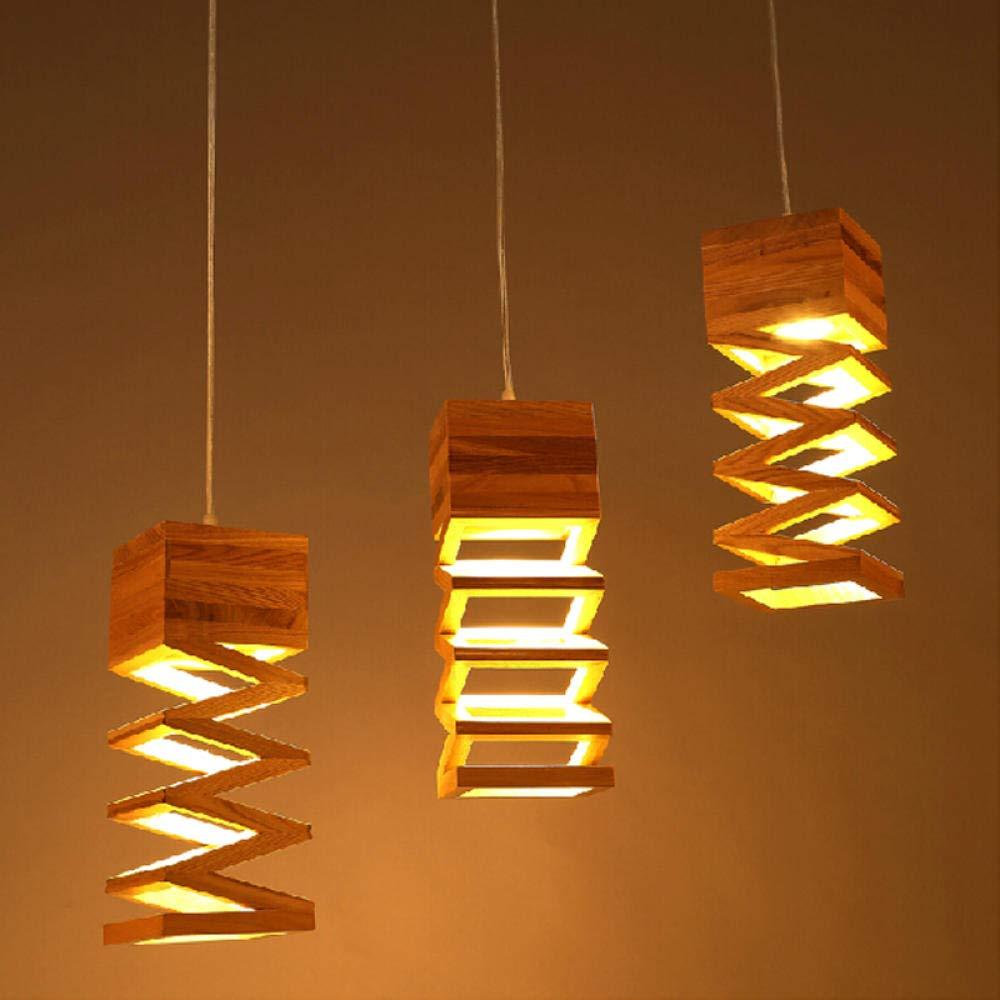 Lustre en bois moderne lampe restaurant éclairage de salle lampe décoration de la maison lustre à ressort E27