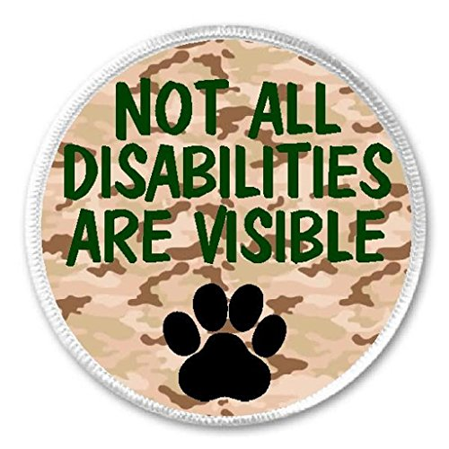 """Not All Disabilities Visible - 3"""" Sew / Iron On Patch Service Dog Animal Therapy"""