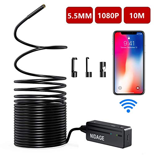 Wireless Endoscope Camera, NIDAGE WiFi 5.5mm 1080P HD Borescope Inspection Camera for iPhone Android, 2MP Semi-Rigid Snake Camera for Inspecting Motor Engine Sewer Pipe Vehicle -