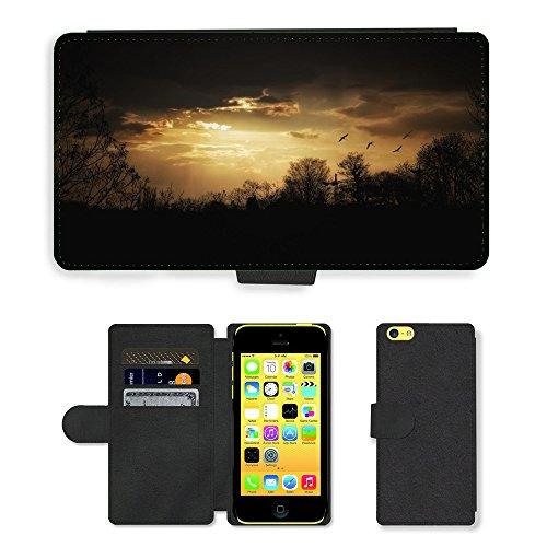 PU Leather Cover Custodia per // M00421568 Soirée Mood Crépuscule Sky Ambiance // Apple iPhone 5C