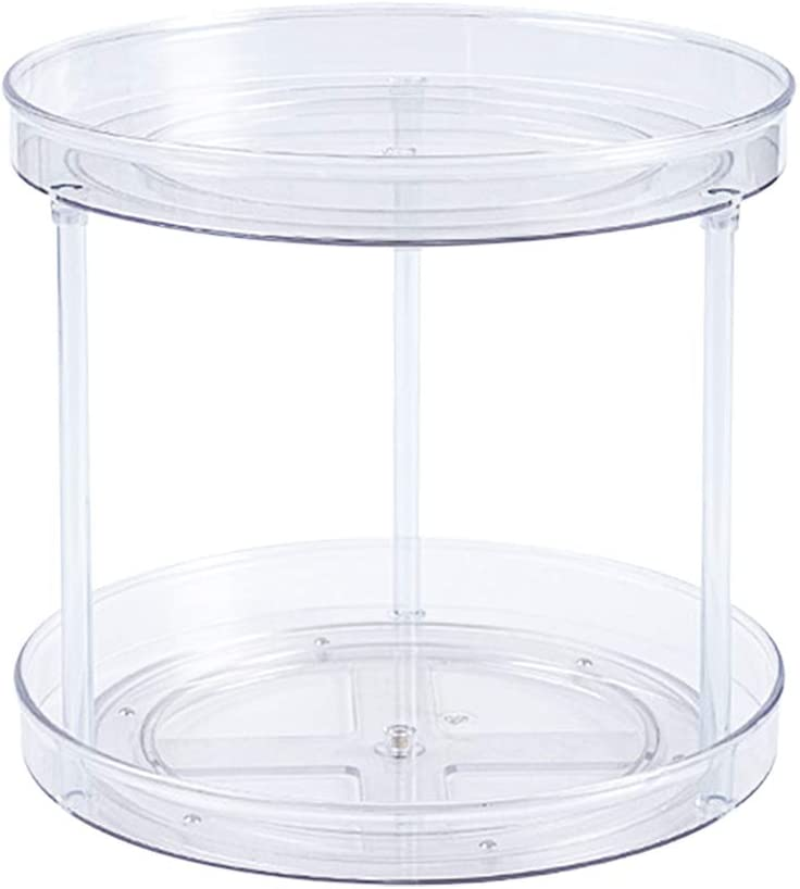 Lazy Susan Turnable Cabinet Organizer, Multifunctional 2 Tier 360 Rotating Clear Cabinet Organizer Large Spinning Spice Containers Cosmetic Can Organizers for Kitchen Pantry Bathroom